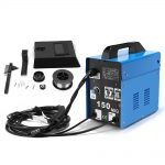 blue electrical device with cables