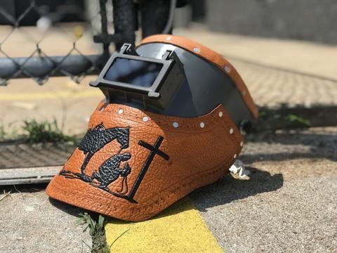 Leather welding helmet